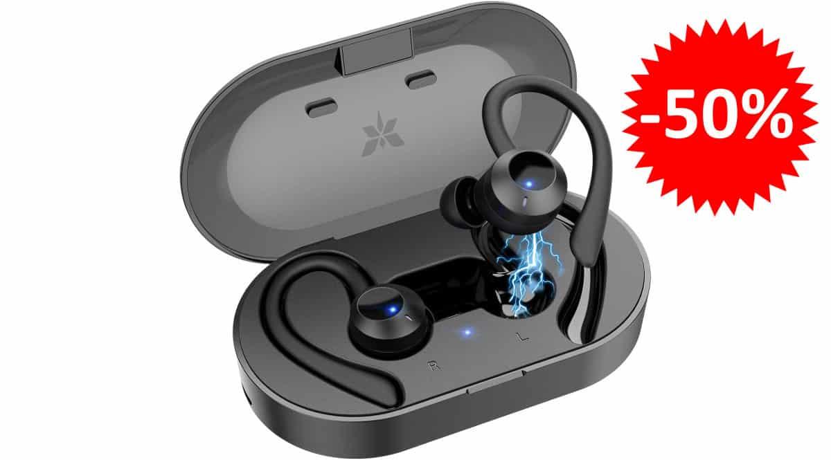 ¡Código descuento! Auriculares deportivos Bluetooth Axloie G1 New sólo 16.99 euros. 50% de descuento.