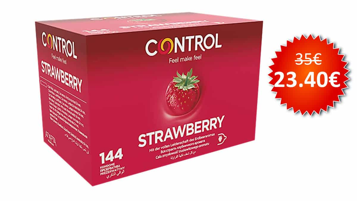 Caja de 144 condones Control Strawberry baratos, condones baratos, chollo