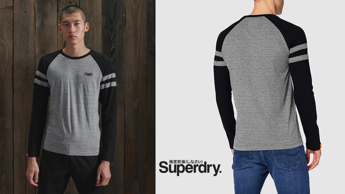 Camiseta de manga larga Superdry OL Softball Ringer barata, camisetas de marca baratas, ofertas en ropa, chollo