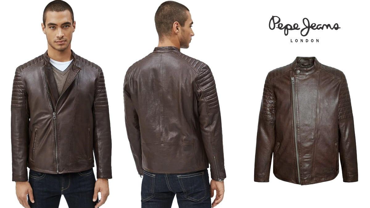 Cazadora de piel Pepe Jeans Locke barata, ropa de marca barata, ofertas en cazadoras chollo1
