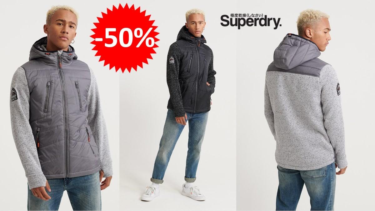 Chaqueta Superdry Storm Hybrid barata, cazadora de marca barata, ofertas en ropa, chollo