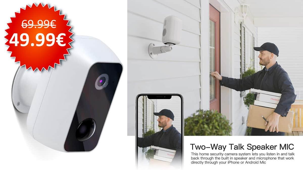 Cámara de vigilancia Ltteny WiFi con batería barata, cámaras de vigilancia baratas, chollo