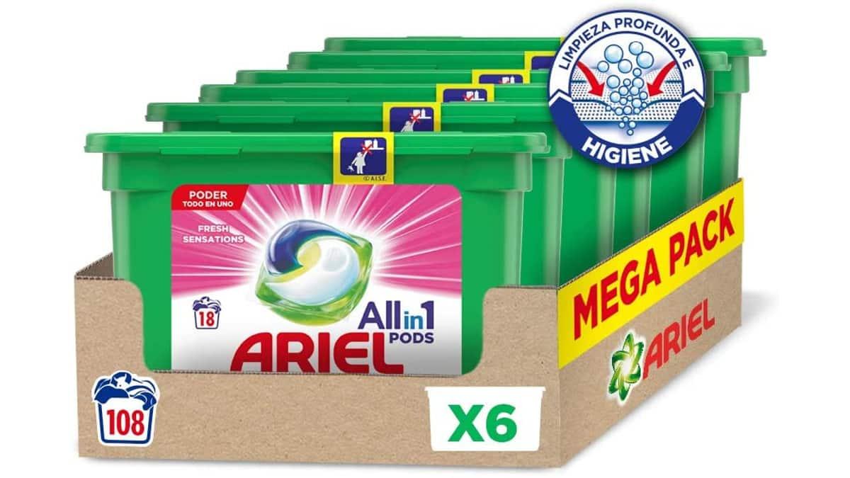Detergente en cápsulas Ariel Pods Allin1 barato, detergentes para la ropa de marca baratos, ofertas supercado, chollo