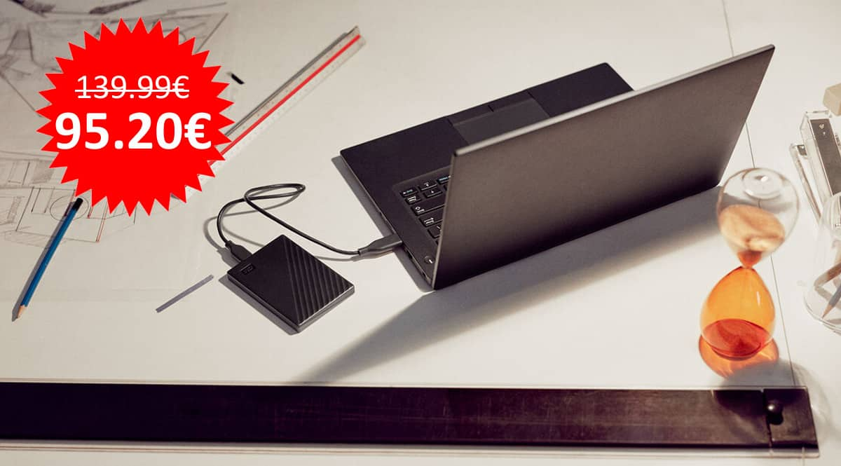 ¡Precio mínimo histórico! Disco duro portátil WD My Passport 5TB sólo 95 euros.