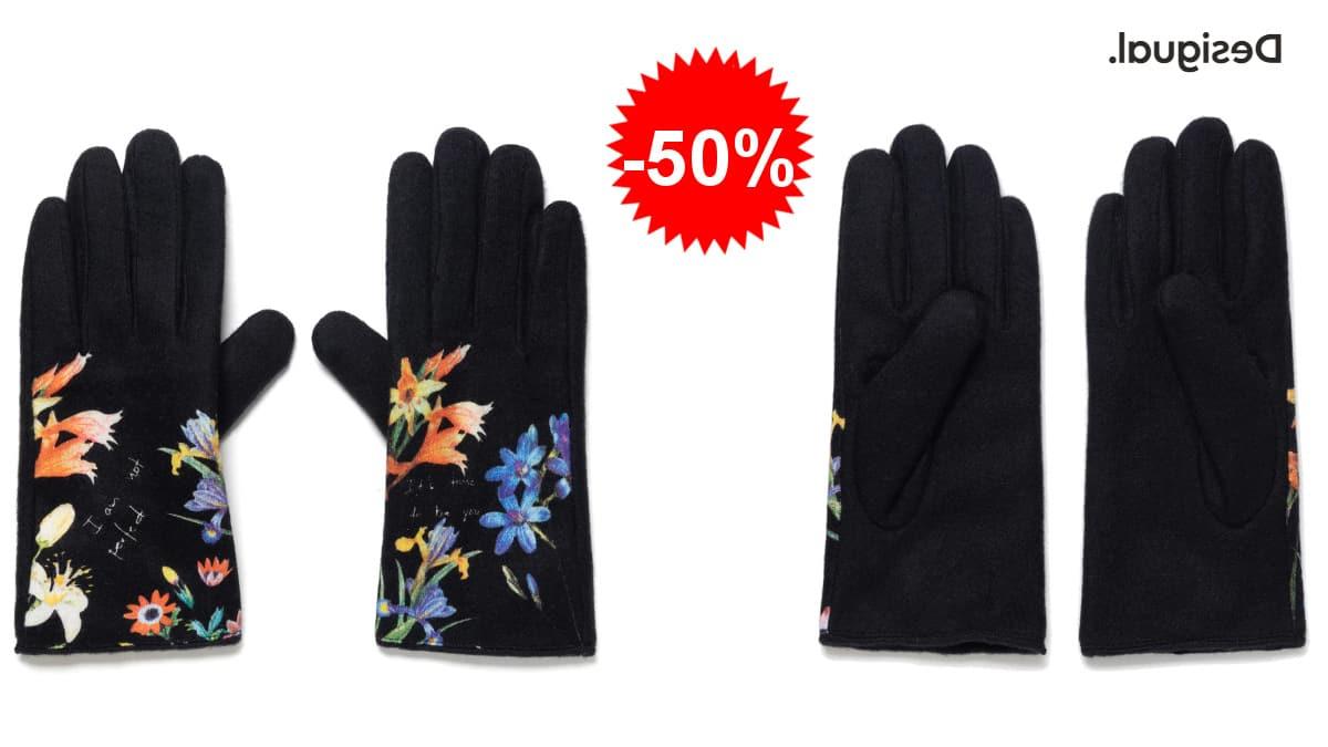 Guantes Desigual gloves flowerish baratos, guantes de marca baratos, ofertas en ropa de marca, chollo