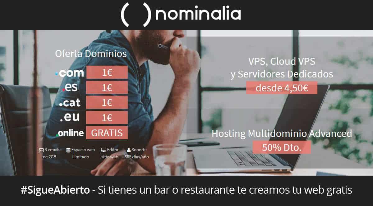 Oferta dominios y alojamientos Nominalia, alojamiento web barato, dominios baratos, chollo