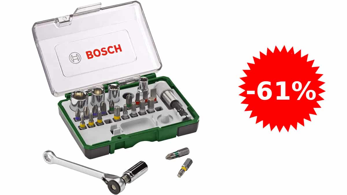 Set de 27 puntas de atornillar con carraca Bosch barato, herramientas baratas, ofertas bricolaje, chollo
