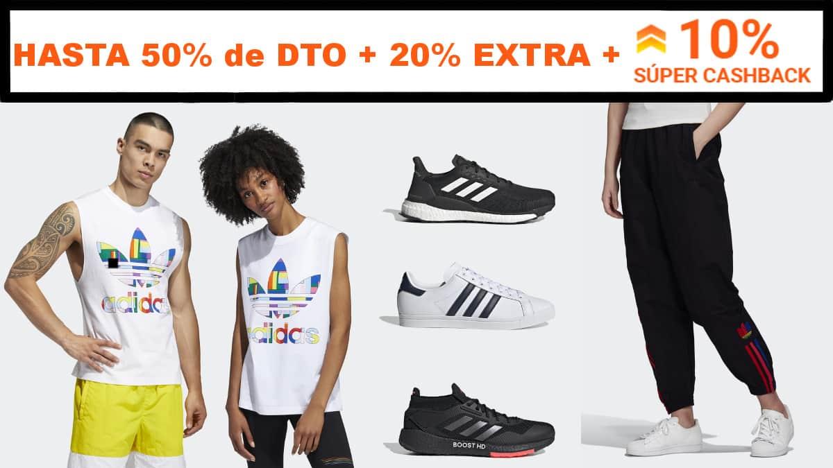 Súper Cashback Adidas, ropa de marca barata, ofertas en calzado chollo