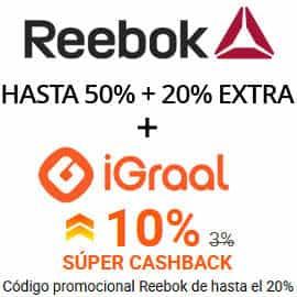 Súper Cashback de Reebok en iGraal, zapatillas de marca baratas, ofertas en material deportivo