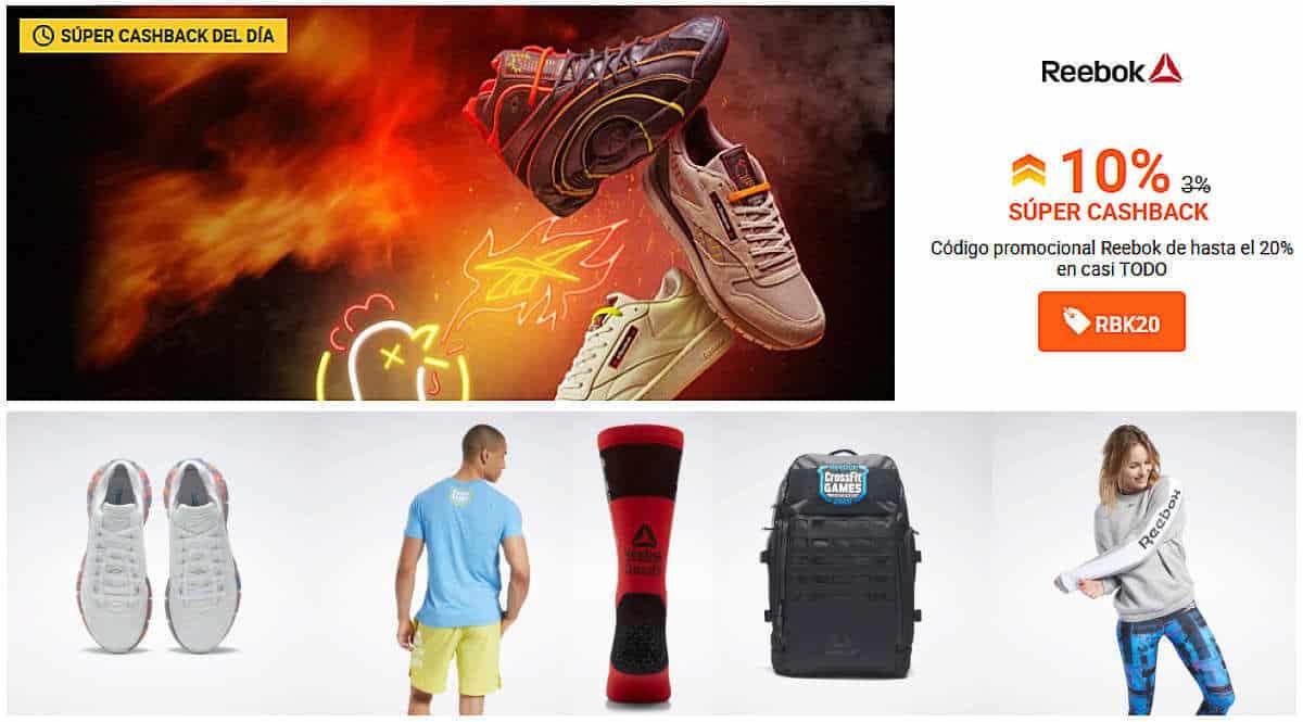 Súper Cashback de Reebok en iGraal, zapatillas de marca baratas, ofertas en material deportivo, chollo