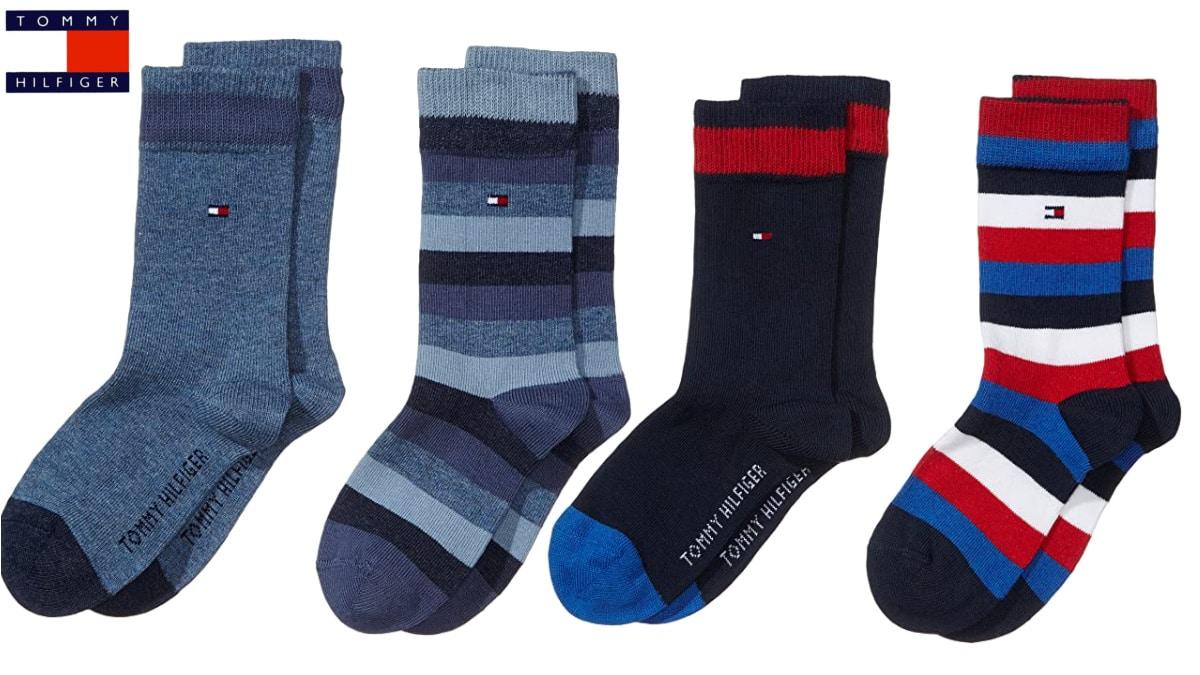 calcetines Tommy Hilfiger Stripes para niños baratos, calcetines de marca baratos, ofertas en ropa para niño, chollo