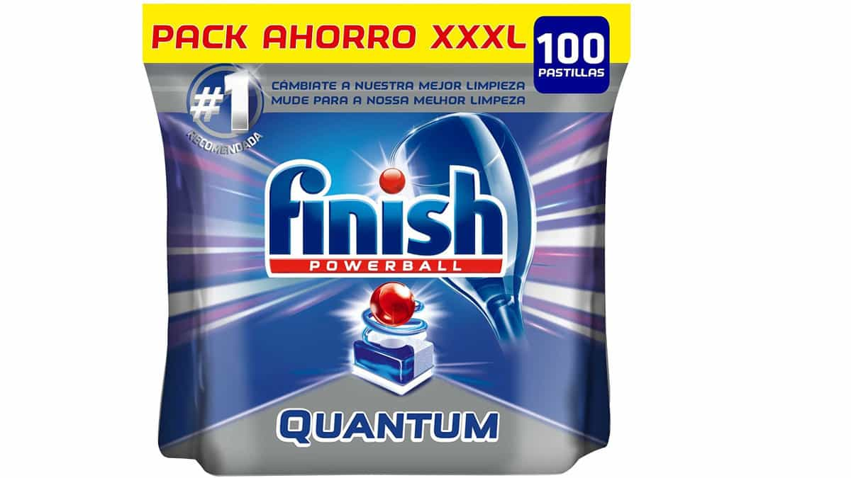 100 pastillas de lavavajillas Finish Quantum baratas. Detergente barato, chollo