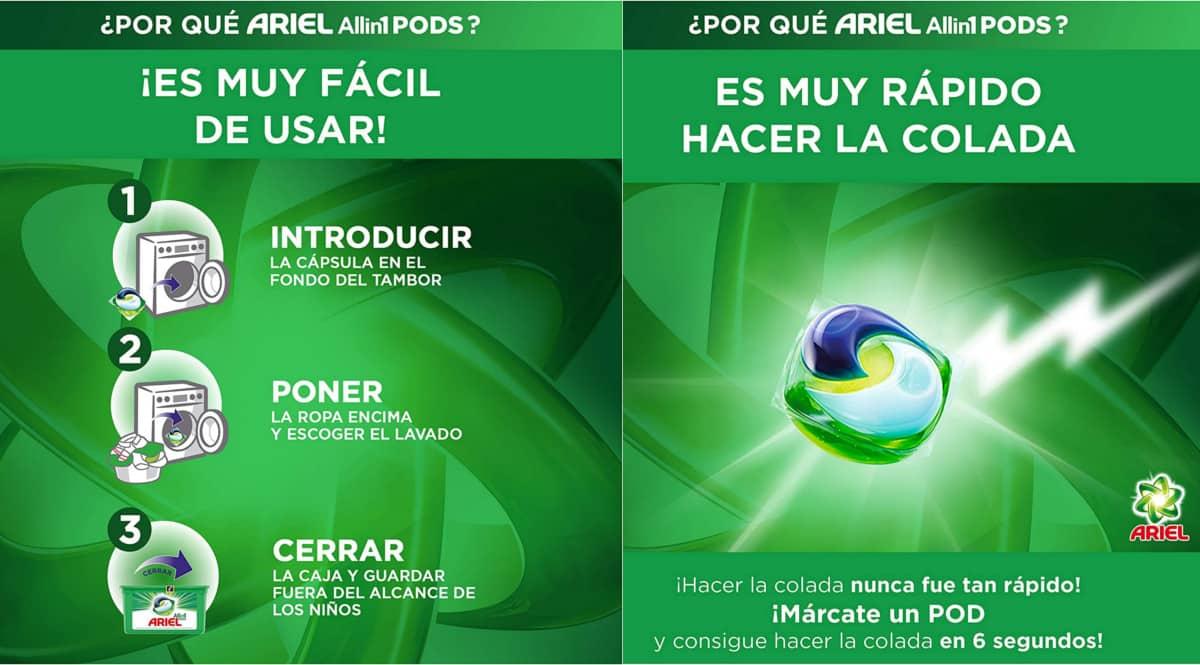 123 cápsulas de detergente en cápsulas Ariel Pods All in One baratas. Ofertas en supermercado, chollo