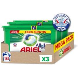 123 cápsulas de detergente en cápsulas Ariel Pods All in One baratas. Ofertas en supermercado