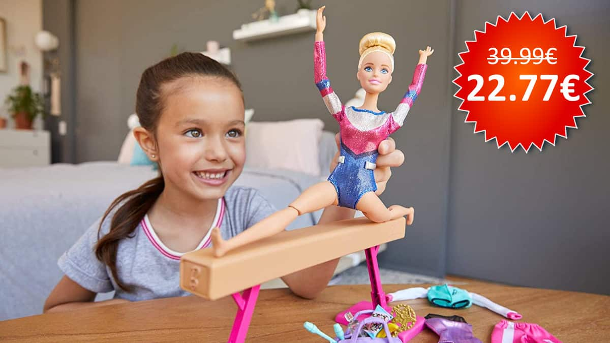 ¡Precio mínimo histórico! Barbie Olimpiadas, muñeca gimnasta, sólo 22 euros.