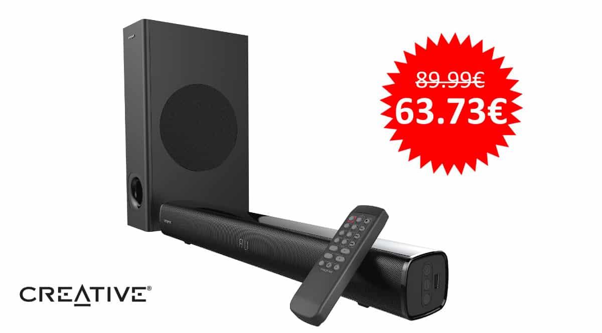 ¡Precio mínimo histórico! Barra de sonido 2.1 Bluetooth Creative Stage sólo 63 euros.