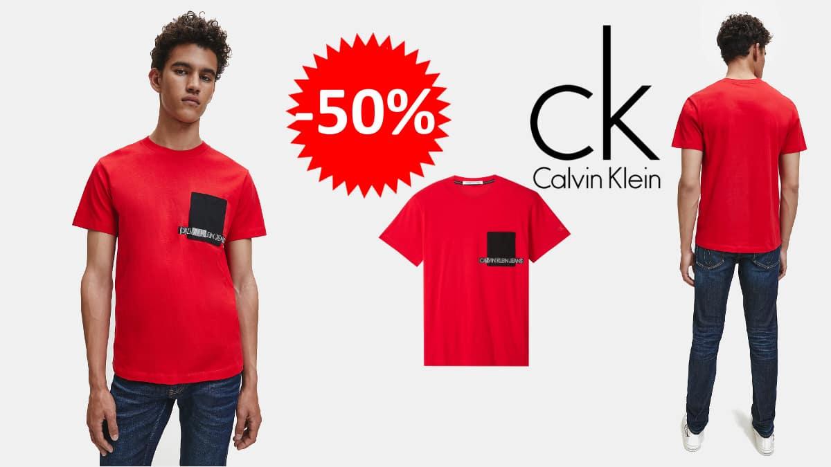 Camiseta Calvin Klein Instit Contrast Pocket barata, ropa de marca barata, ofertas en ropa, chollo