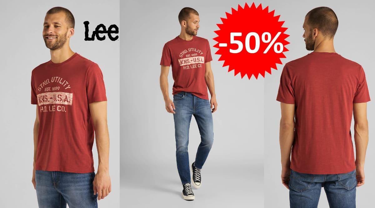 Camiseta Lee Stencil barata, camisetas de marca baratas, ofertas en ropa, chollo
