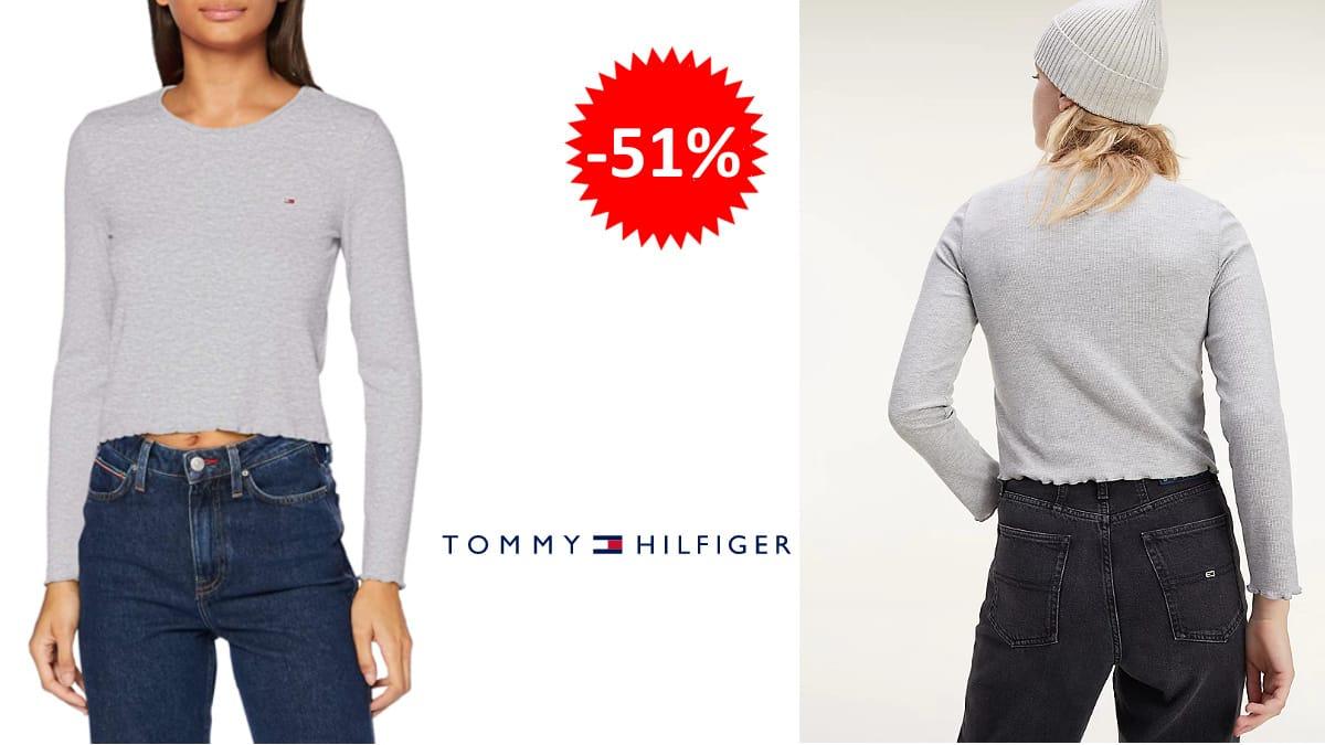 Camiseta Tommy Hilfiger Crop barata, camisetas de marca baratas, ofertas en ropa, chollo
