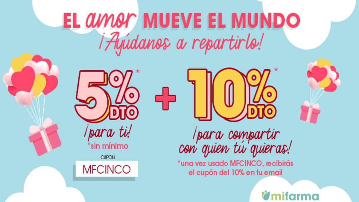 Código descuento en Mifarma por San Valentin, productos de parafarmacia baratos, ofertas farmacia, chollo