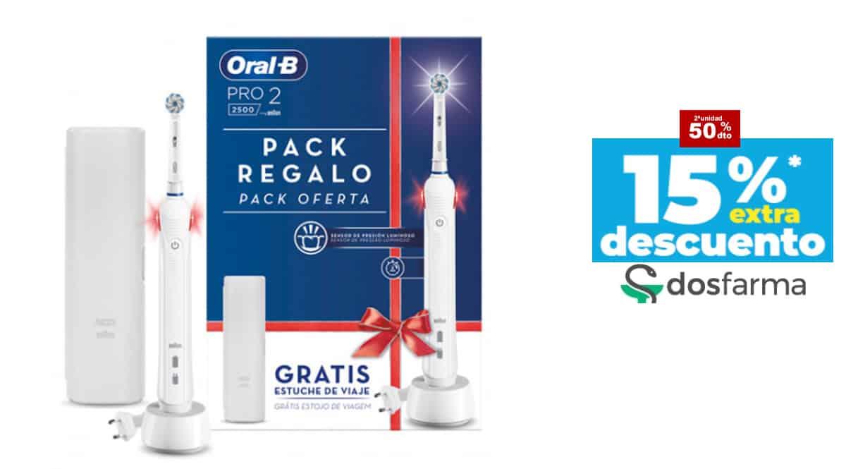 Cepillos eléctricos Oral B PRO2 con funda baratos, cepillos de dientes de marca baratos, ofertas cuidado personal, chollo