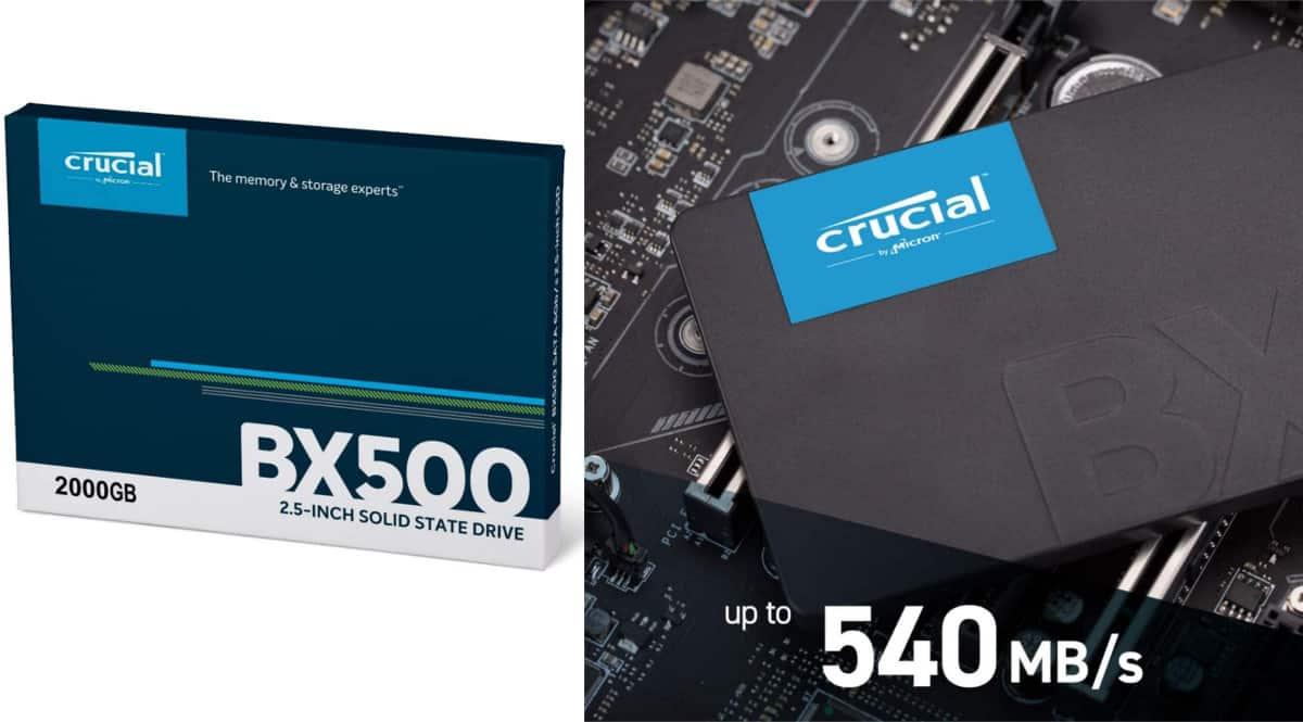 Disco SSD Crucial BX500 de 2TB barato. Ofertas en discos SSD, discos SSD baratos, chollo