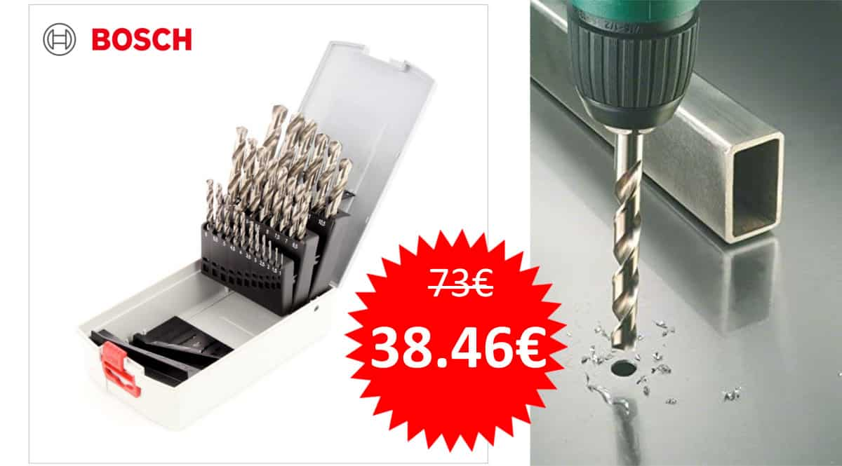 Juego de 25 brocas para metal Bosch ProBox HSS-G.