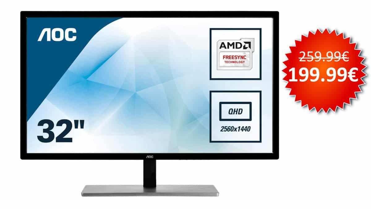 ¡¡Chollo!! Monitor AOC Q3279VWF 31.5″ LED QHD FreeSync sólo 199 euros. Te ahorras 60 euros.