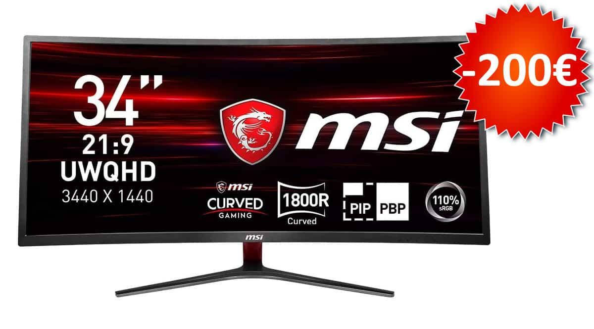 ¡¡Chollo!! Monitor gaming curvo de 34″ UWQHD MSI Optix MAG341CQ sólo 399 euros. Te ahorras 200 euros.