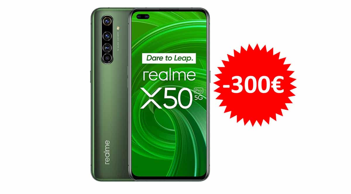 ¡Precio mínimo histórico! Móvil Realme X50 Pro 5G 8GB/128GB sólo 299 euros. 50% de descuento.
