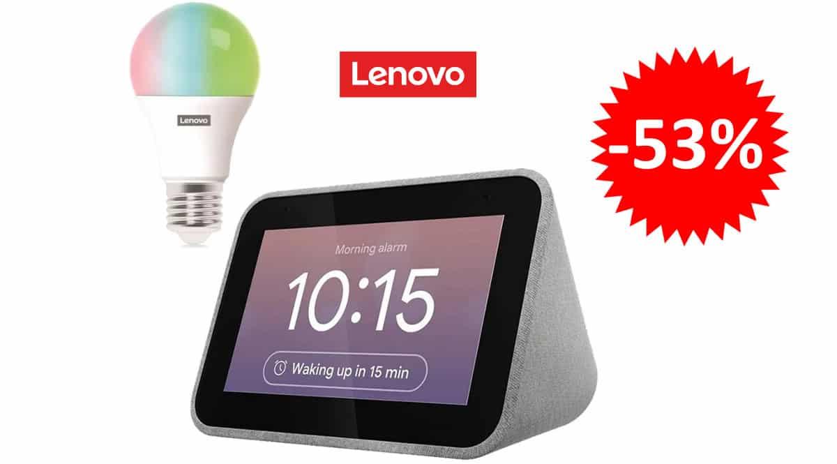 ¡¡Chollo!! Pack Lenovo Smart Clock + bombilla Lenovo Smart Bulb LED sólo 48.94 euros. 53% de descuento.
