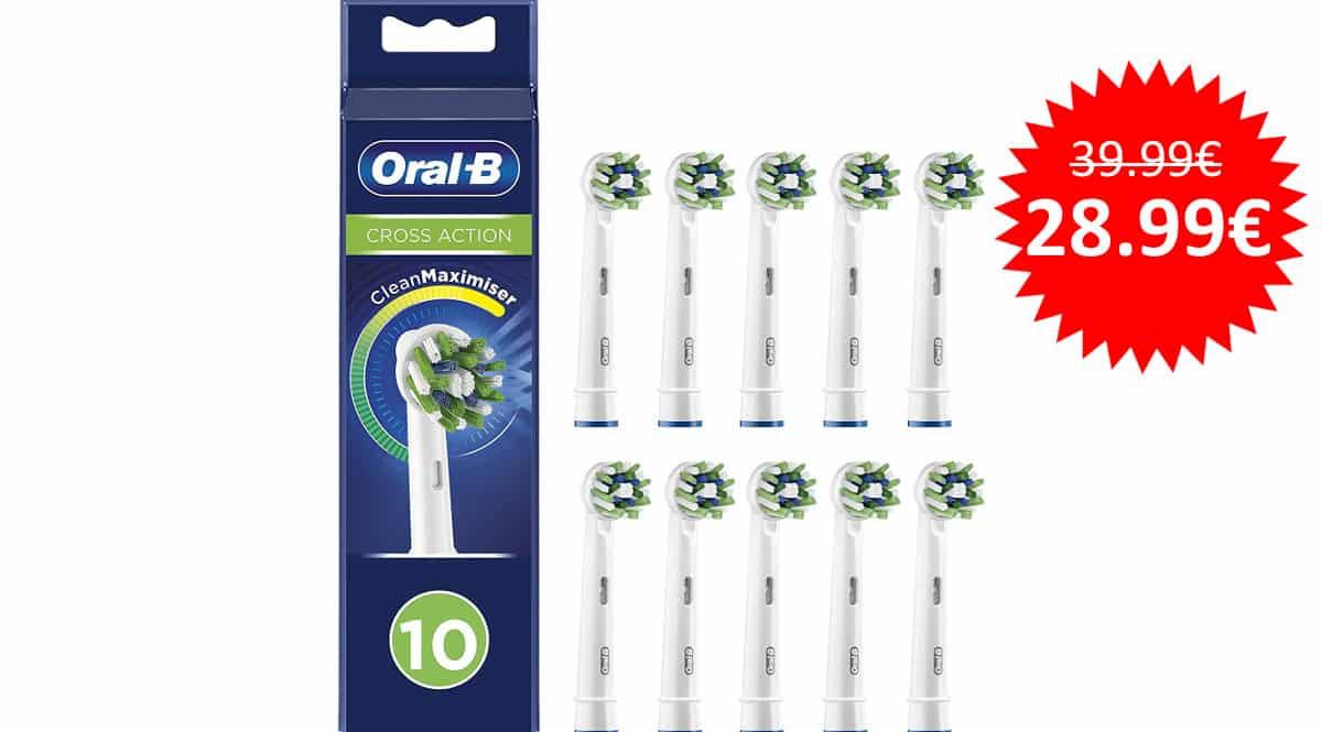 ¡¡Chollo!! Pack de 10 cabezales de recambio Oral-B CrossAction sólo 28.99 euros.