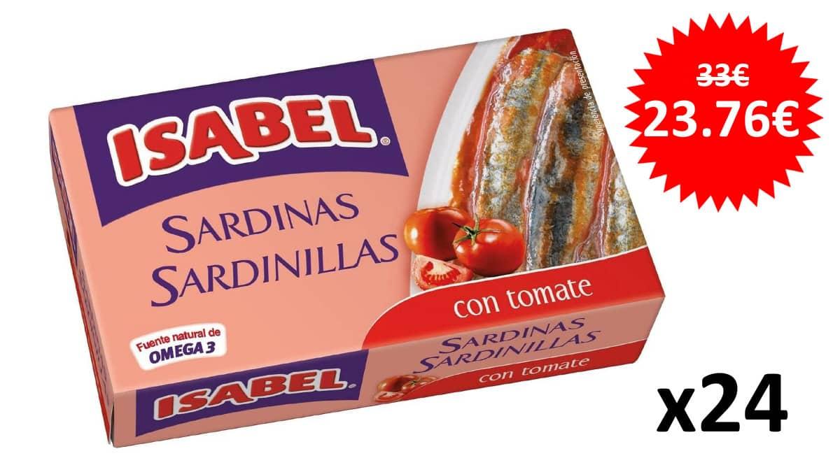 ¡Precio mínimo histórico! Pack de 24 latas Isabel de sardinillas en tomate sólo 23 euros.