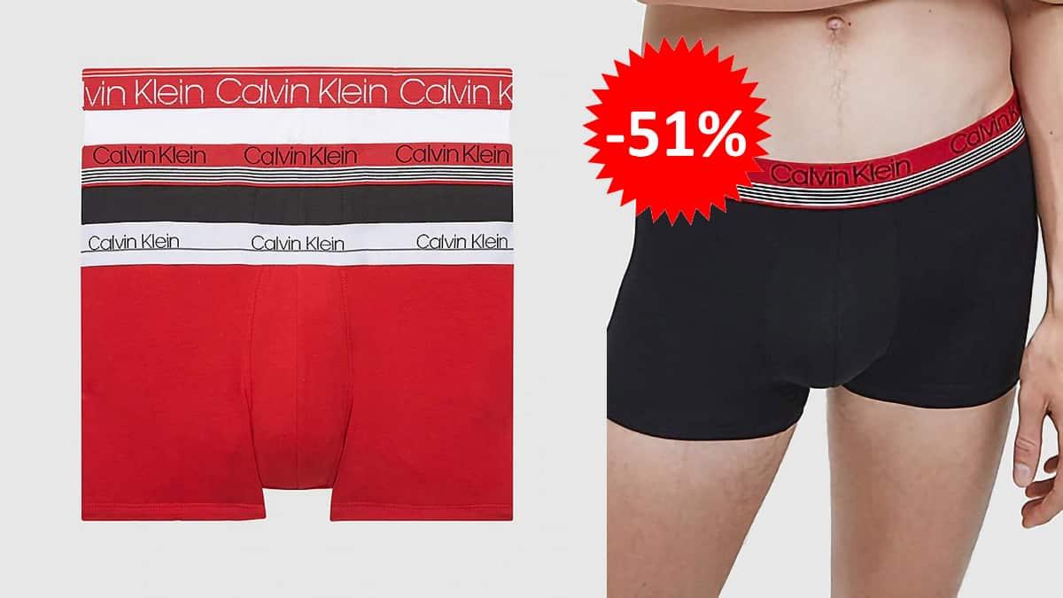 Pack de 3 boxers Calvin Klein baratos, ropa de marca barata, ofertas en ropa interior chollo