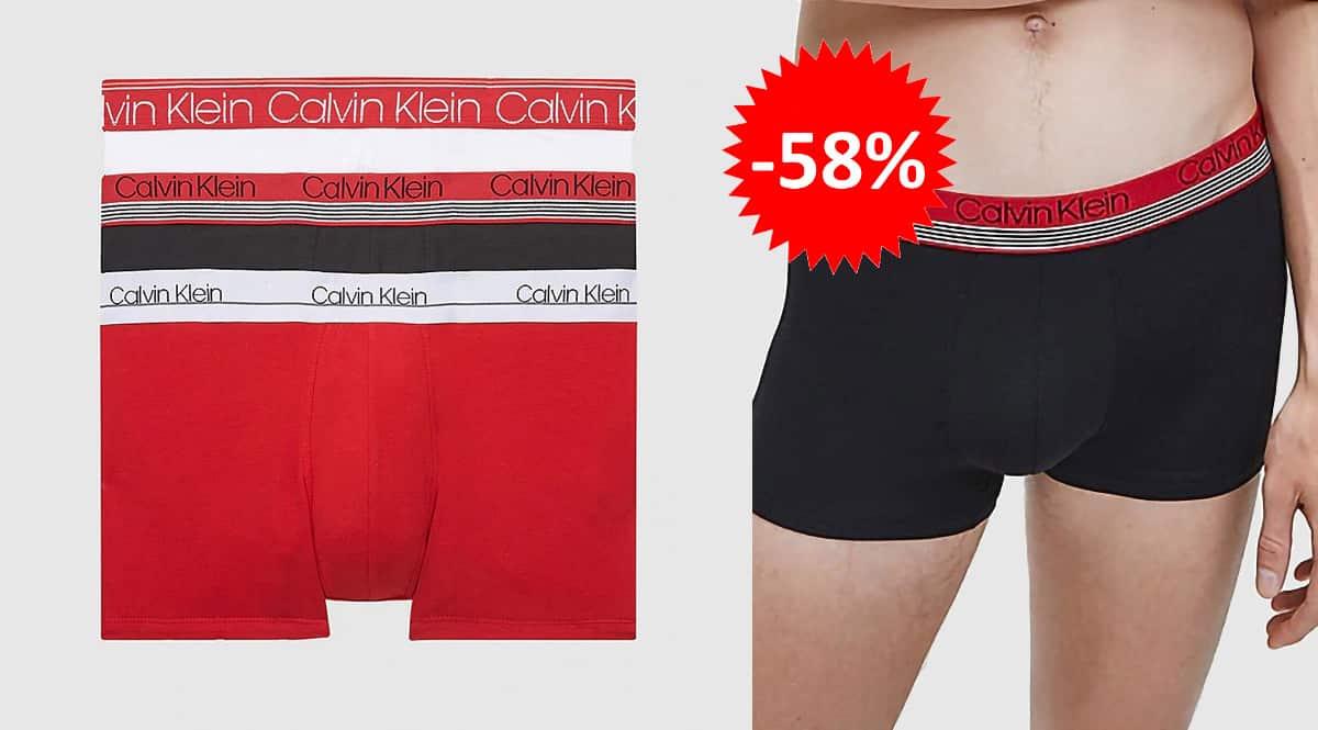 Pack de 3 boxers Calvin Klein baratos, ropa interior barata, ofertas en ropa de marca chollo