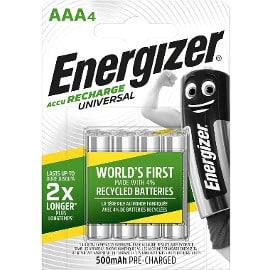 ¡¡Chollo!! Pack de 4 pilas recargables Energizer 500mAh AAA sólo 3.99 euros. 64% de descuento.