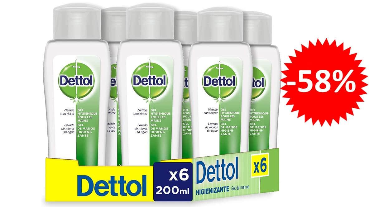 ¡¡Chollo!! Pack de 6 gel de manos desinfectante hidroalcohólico Dettol sólo 9.99 euros. 58% de descuento.