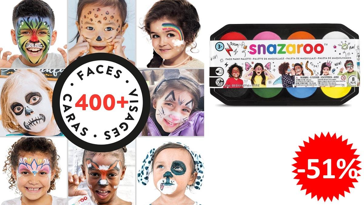 Paleta de pintura facial Snazaroo, maquillaje facial para niños y adultos baratos, ofertas carnaval, chollo