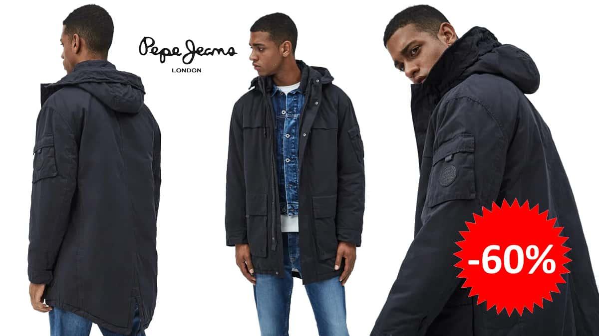 Parka cola de pez Pepe Jeans Byron barata, ropa de marca barata, ofertas en abrigos chollo
