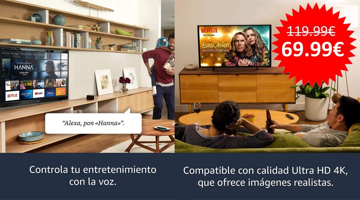 ¡Precio mínimo histórico! Reproductor multimedia Fire TV Cube sólo 69.99 euros. Te ahorras 50 euros.