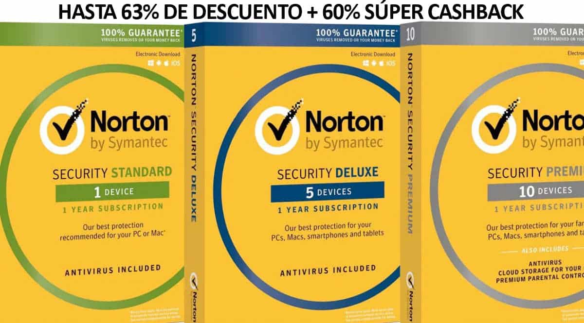 Súper Cashback en Norton, antivirus barato, ofertas en VPN, chollo