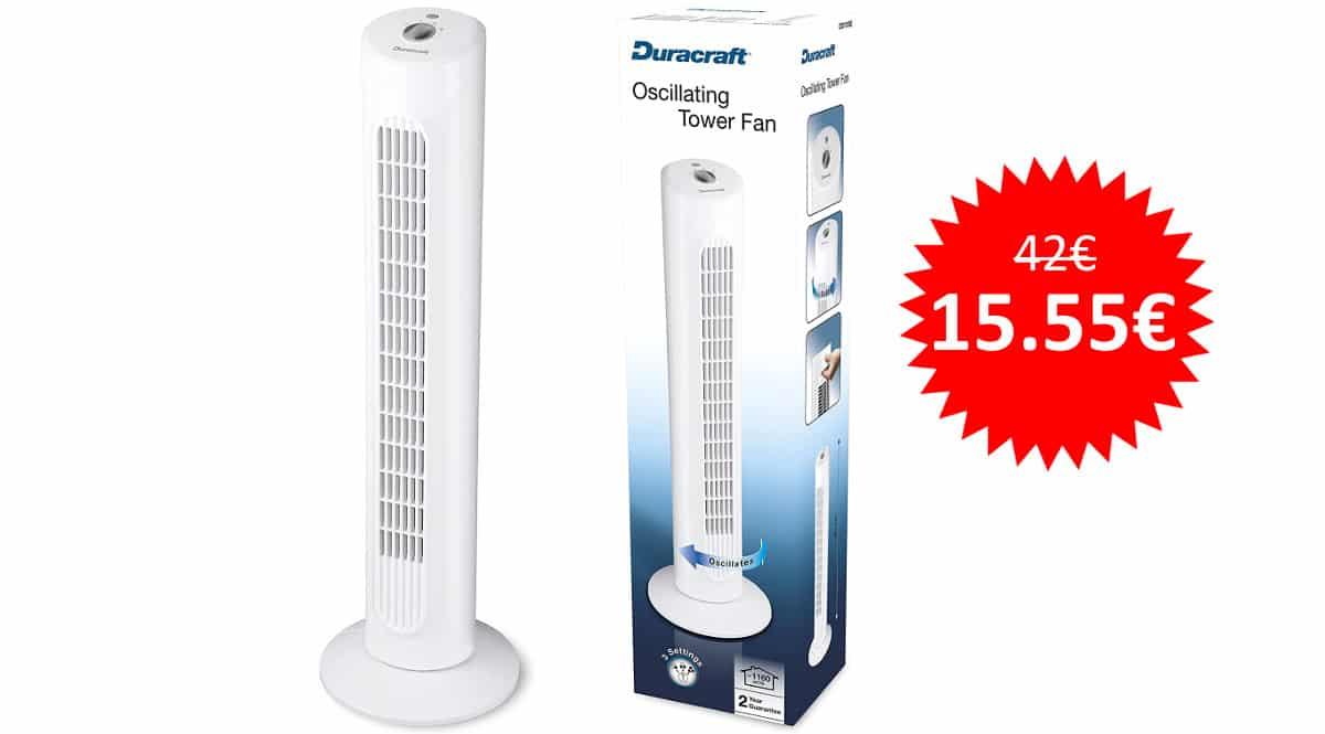 ¡Precio mínimo histórico! Ventilador de torre Duracraft DO1100E sólo 15.55 euros. 63% de descuento.