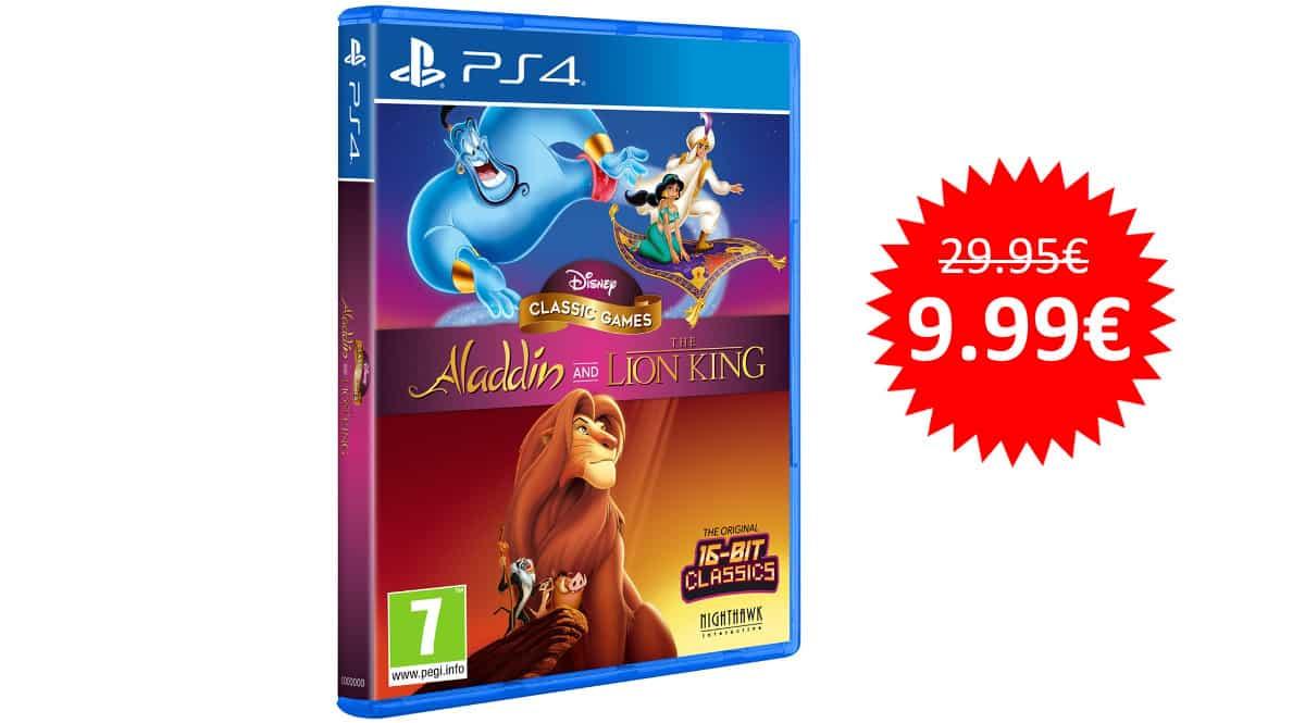 ¡Precio mínimo histórico! Disney Classic Games: Aladdin y El Rey León remasterizados para PS4 sólo 9.99 euros. 67% de descuento.