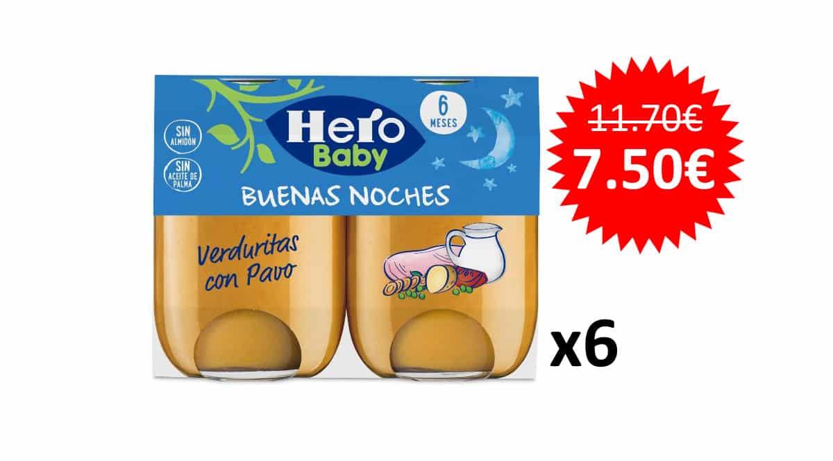 ¡Precio mínimo histórico! 12 tarritos Hero Baby Buenas Noches Verduritas con Pavo sólo 7.50 euros.