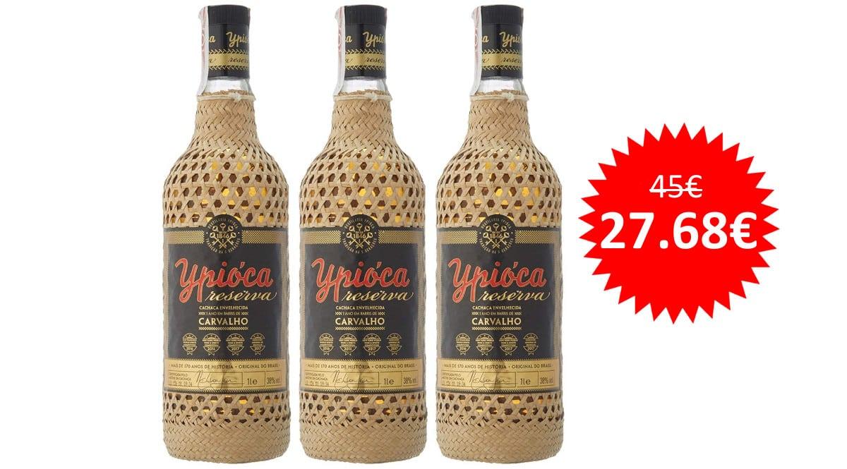 ¡Precio mínimo histórico! 3 botellas de 1L de cachaza brasileño Ypióca Oro sólo 27 euros.
