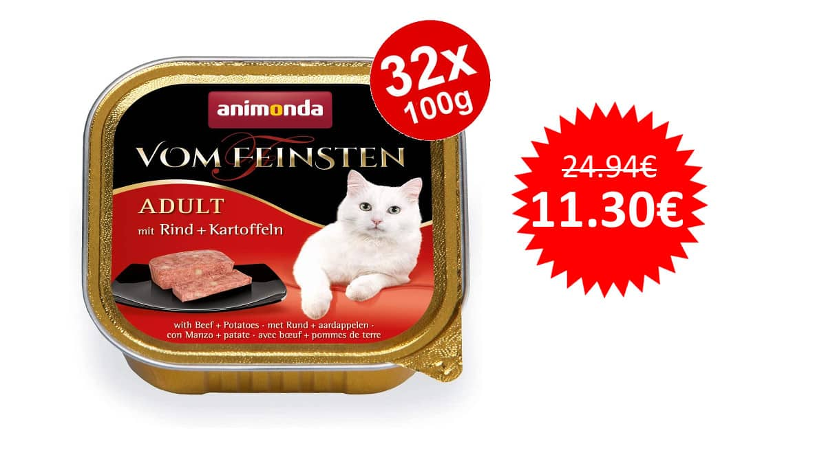 ¡Precio mínimo histórico! 32 envases de comida húmeda para gatos Animonda Vom Feinsten sólo 11.30 euros. 55% de descuento.