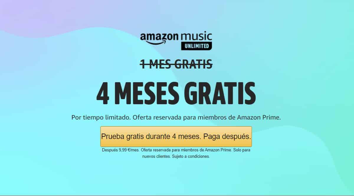 ¡Chollo Prime Day! 4 meses de Amazon Music Unlimited gratis (tarifa individual mensual). Sólo nuevos clientes.