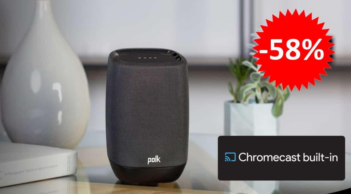 ¡¡Chollo!! Altavoz portátil Bluetooth Polk Assist, con Asistente de Google y Chromecast, sólo 84 euros. 58% de descuento.