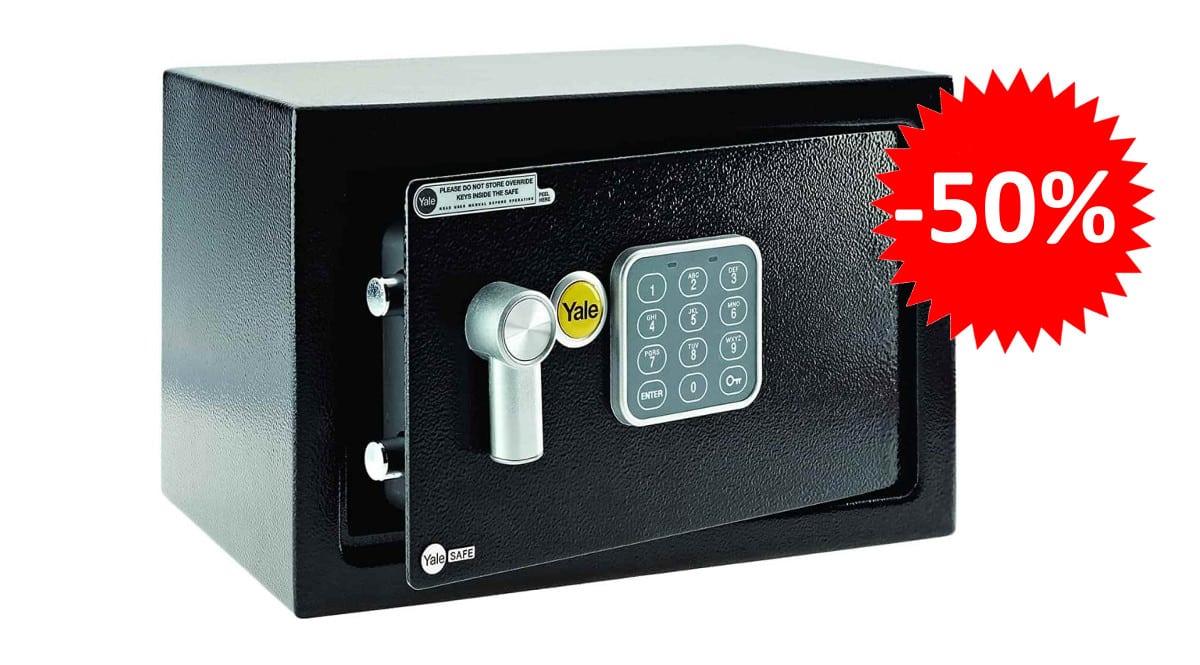 ¡¡Chollo!! Caja fuerte Yale YSV-200-DB1 200 X 310 X 200mm sólo 33 euros. 50% de descuento.