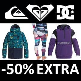 Descuento extra Quiksilver, Roxy y DC Shoes, ropa de marca barata, ofertas en calzado